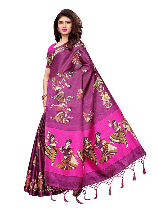 Purple,Pink Color Art Silk Saree