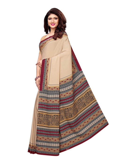 Beige, Multi Color Crepe Saree only in Bigswipe