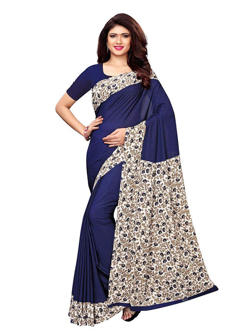 Navy Blue, Off White, Multi Color Crepe Saree only in Bigswipe