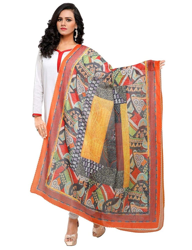 Orange, Multi Color Chinon Dupatta only in Bigswipe