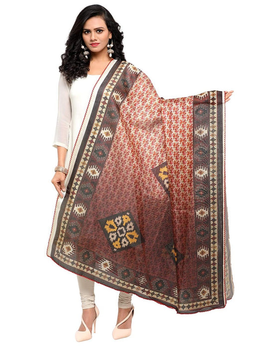 Dark Brown, Multi Color Mock Leno Dupatta only in Bigswipe
