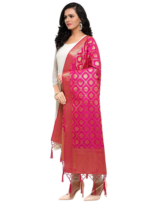 Pink Color Poly Silk Dupatta only in Bigswipe