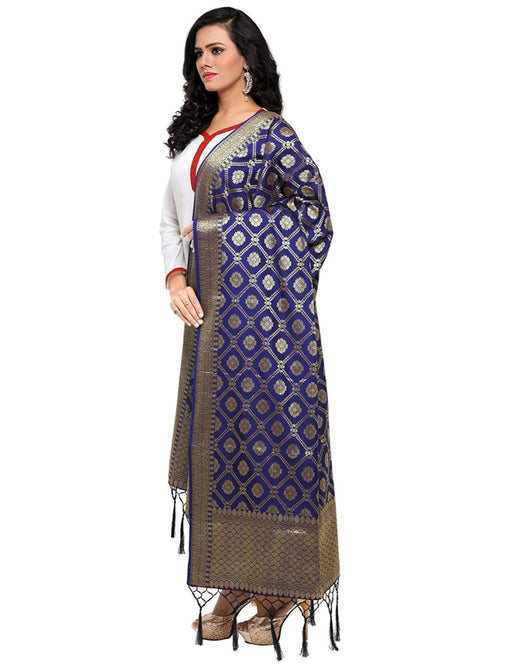 Navy Blue Color Poly Silk Dupatta only in Bigswipe
