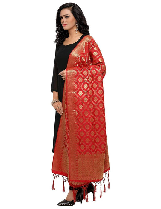 Red Color Poly Silk Dupatta