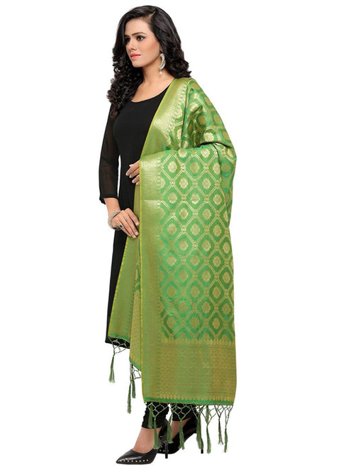 Green Color Poly Silk Dupatta only in Bigswipe
