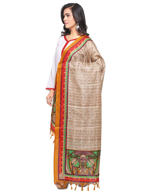 Beige, Yellow, Red Color Bhagalpuri Silk Dupatta only in Bigswipe