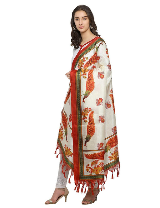 Cream, Brown Color Bhagalpuri Dupatta only in Bigswipe