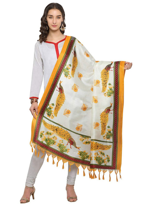 Cream, Yellow Color Bhagalpuri Dupatta only in Bigswipe