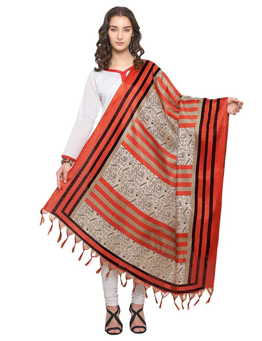 Cream, Brown, Black Color Bhagalpuri Dupatta only in Bigswipe