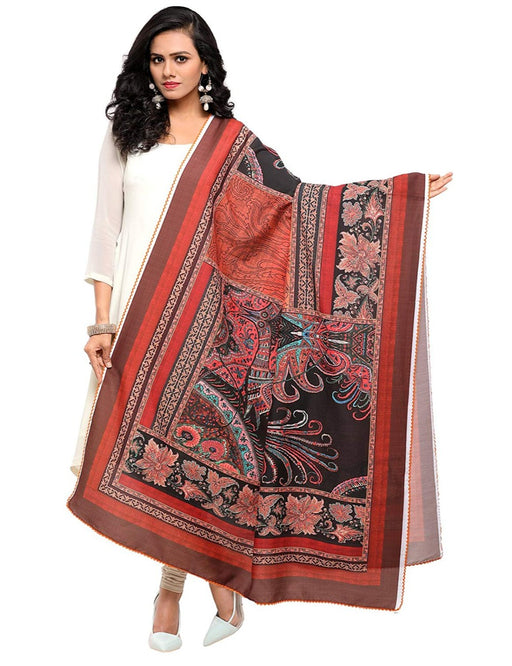 Orange, Black, Multi Color Muslin Dupatta only in Bigswipe