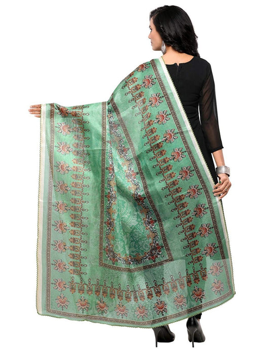 Turquoise, Multi Color Mock Leno Dupatta