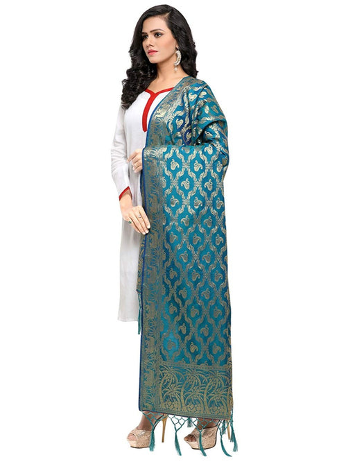 Turquoise Color Poly Silk Dupatta