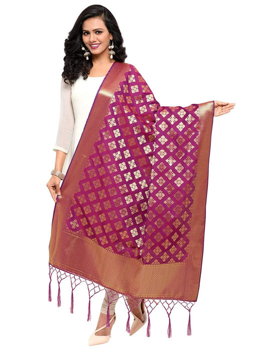 Magenta Color Poly Silk Dupatta only in Bigswipe