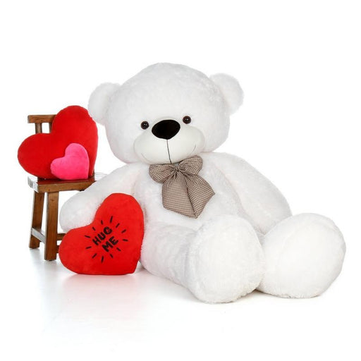 80Cm White Teddy With tie - 3ft only in Bigswipe