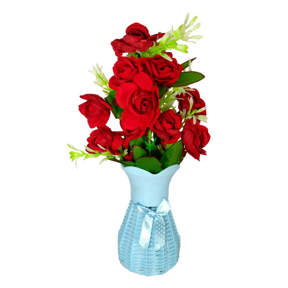 Plastic Vase with Rose bunch Blue (1 Piece) only in Bigswipe