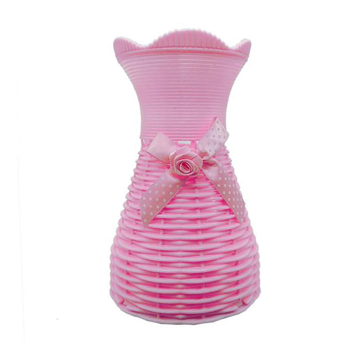 Plastic Vase with Rose bunch Pink (1 Piece) only in Bigswipe