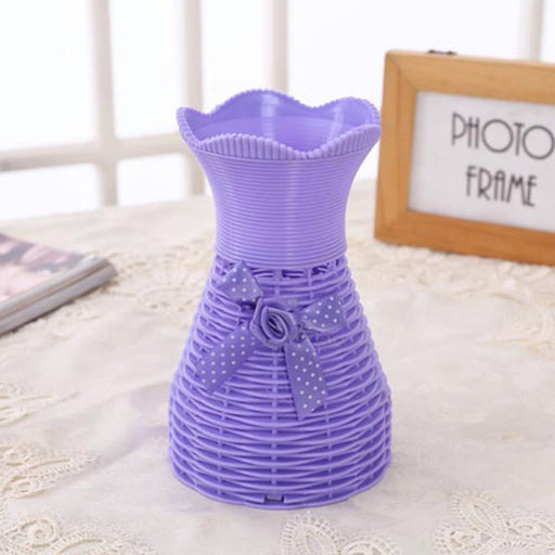 Plastic Vase with Rose bunch Purple (1 Piece) only in Bigswipe
