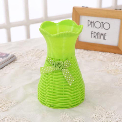 Plastic Vase with Rose bunch Green (1 Piece) only in Bigswipe