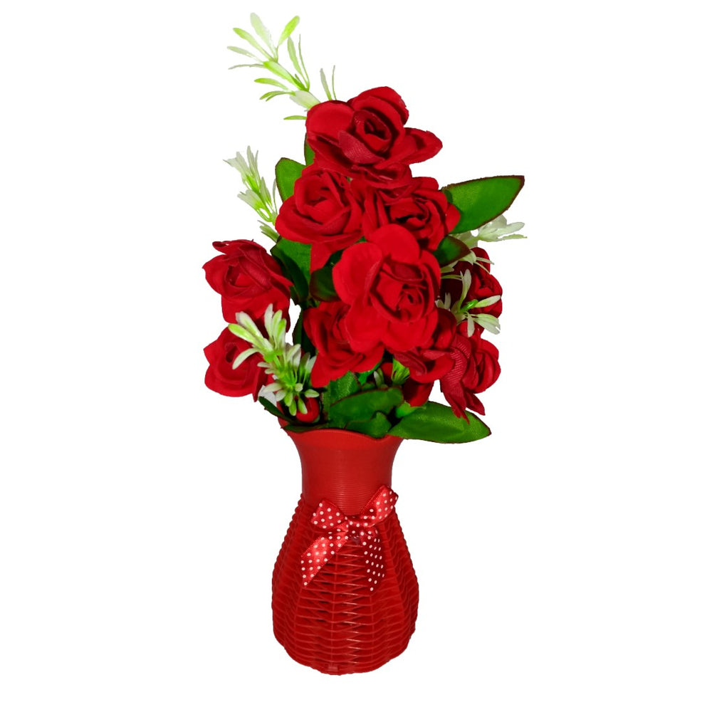 Plastic Vase with Rose bunch Red (1 Piece) only in Bigswipe