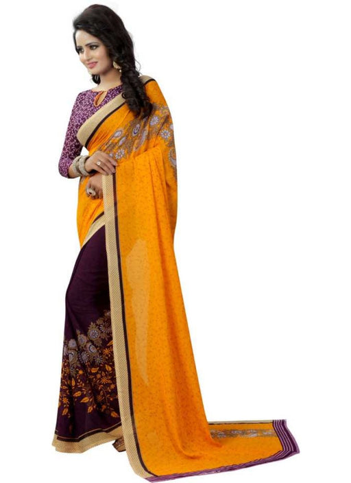 Yellow And Purple Color Printed Georgette Saree With Blouse
