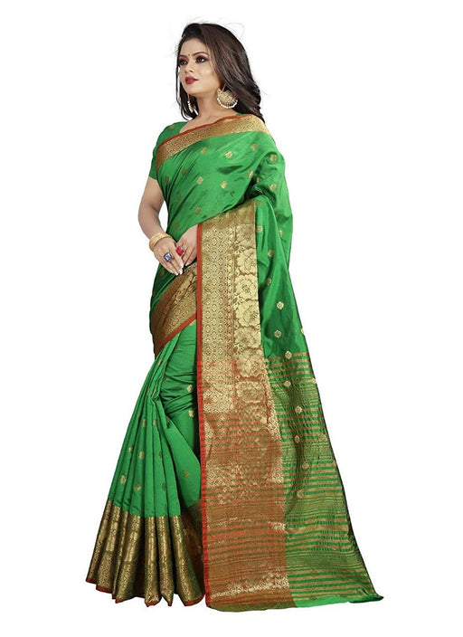 Parrot Green Color Weaving Cotton Silk Saree With Blouse only in Bigswipe