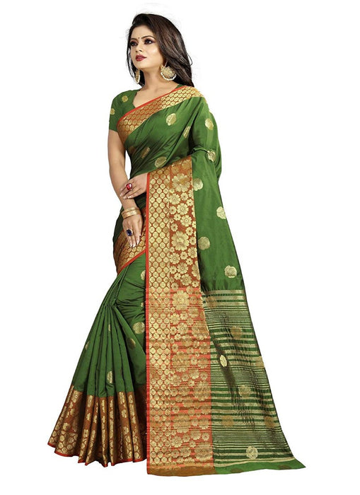 Green Color Weaving Cotton Silk Saree With Blouse only in Bigswipe