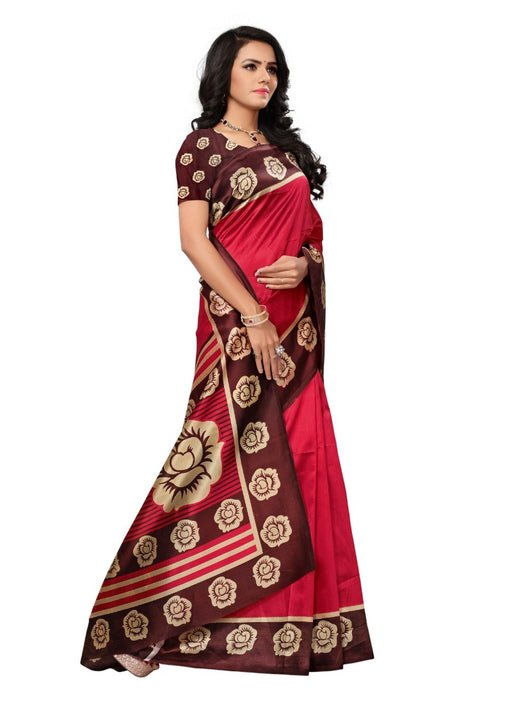 Red Color Printed Mysore kalamkari Silk Saree With Blouse