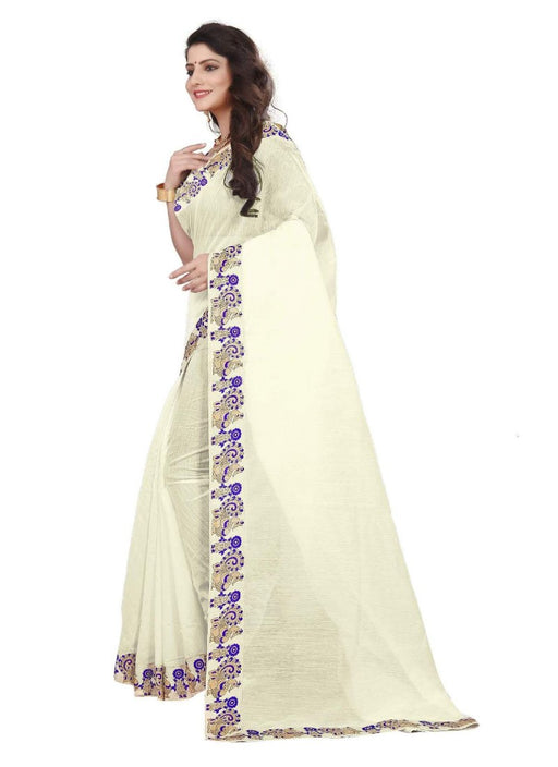 White Color Printed Chanderi Silk Saree With Blouse