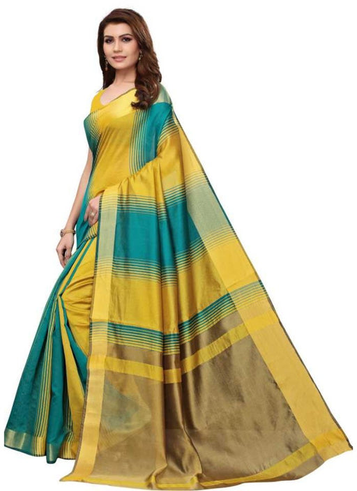 Yellow And Green Color Printed Cotton Silk Saree With Blouse
