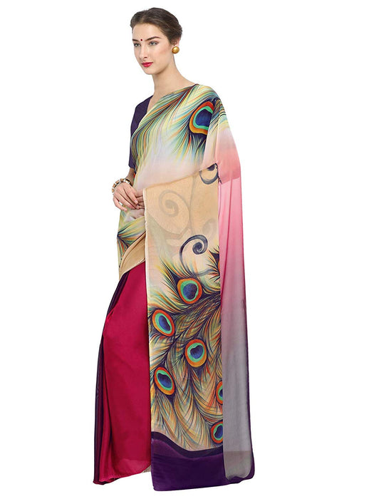 Multi Color Chiffon Georgette Saree only in Bigswipe