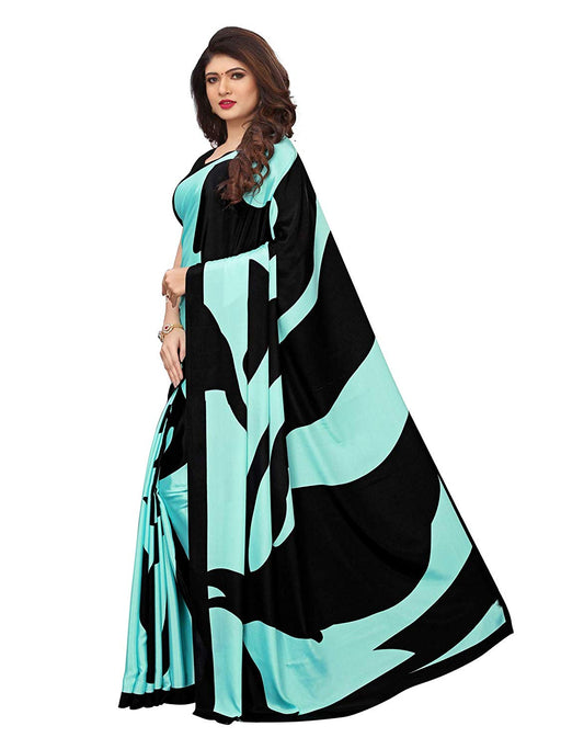 Turquoise, Black Color Crepe Saree