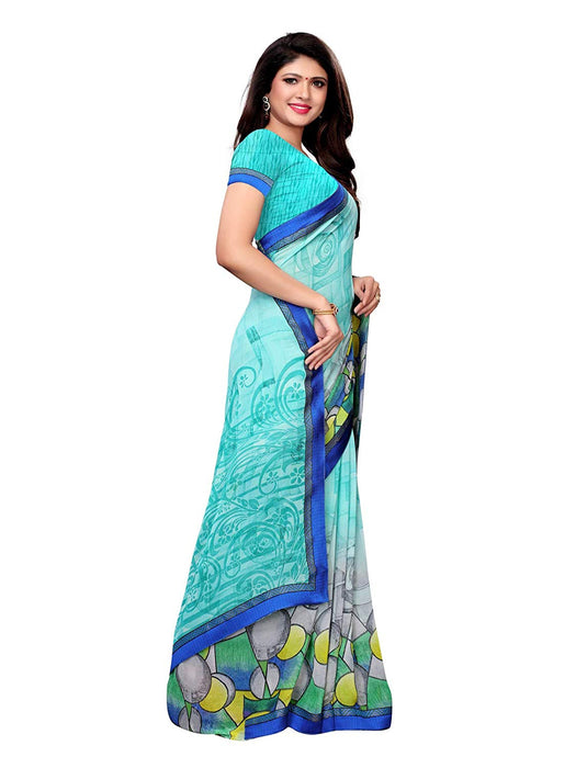 Turquoise, Multi Color Georgette Saree