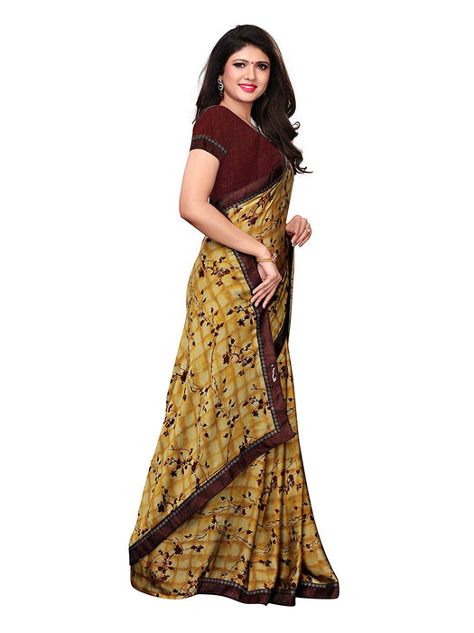 Yellow, Brown, Multi Color Chiffon Saree