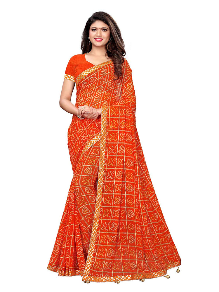 Orange, Multi Color Chiffon Saree only in Bigswipe