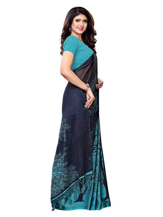 Turquoise, Navy Blue Color Shimmer (Chiffon) Saree