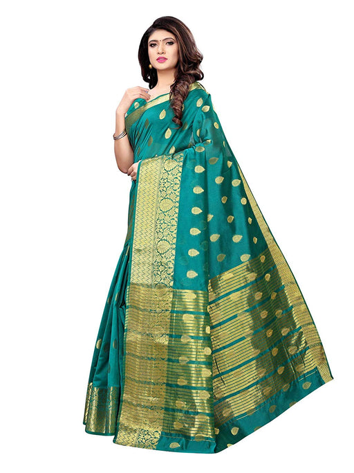 Turquoise Color Poly Silk Saree