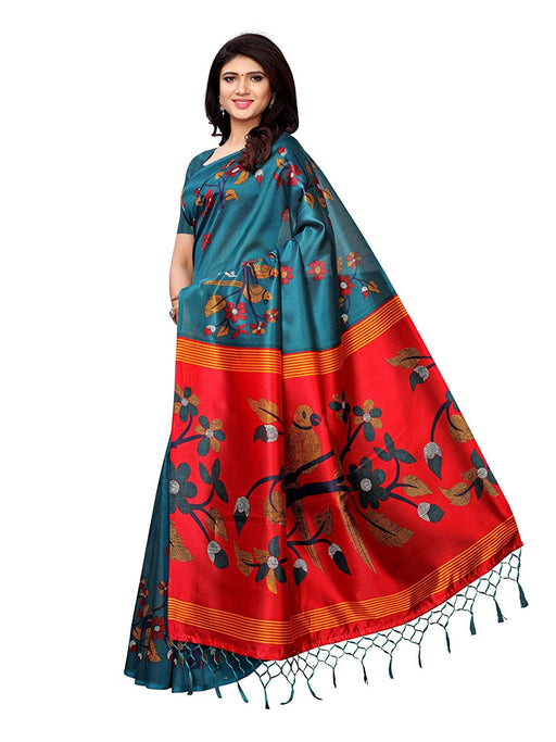 Turquoise, Multi Color Poly Silk Saree