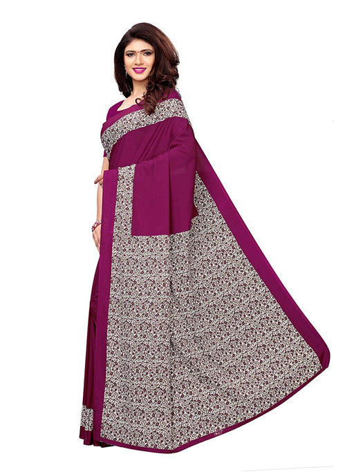 Purple, Off White, Multi Color Crepe Saree