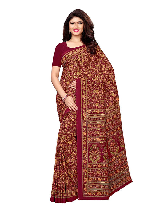 Maroon, Multi Color Crepe Saree only in Bigswipe