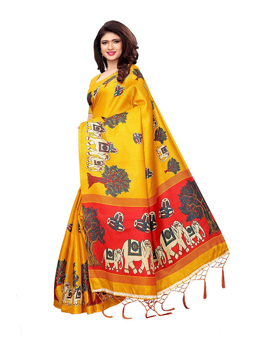 Yellow, Red Color Art Silk Saree