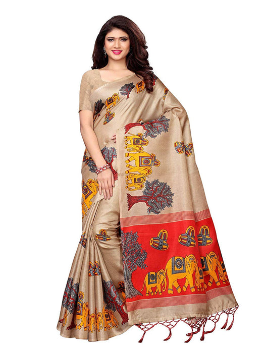 Beige, Maroon Color Art Silk Saree only in Bigswipe