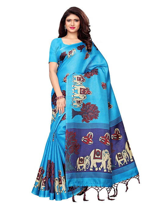 Blue, Navy Blue Color Art Silk Saree only in Bigswipe