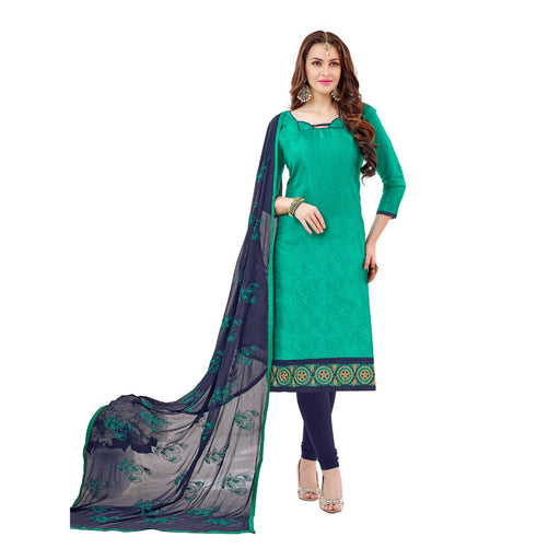 Cotton Jacquard Fabric Turquoise Green Color Dress Material only in Bigswipe