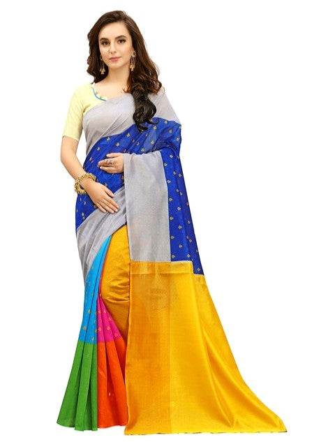*Printed Daily Wear Cotton Silk Blue Saree With Blouse* only in Bigswipe