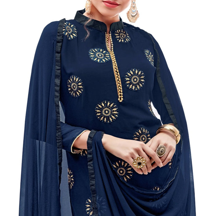 Georgette Fabric Navy Blue Color Dress Material only in Bigswipe