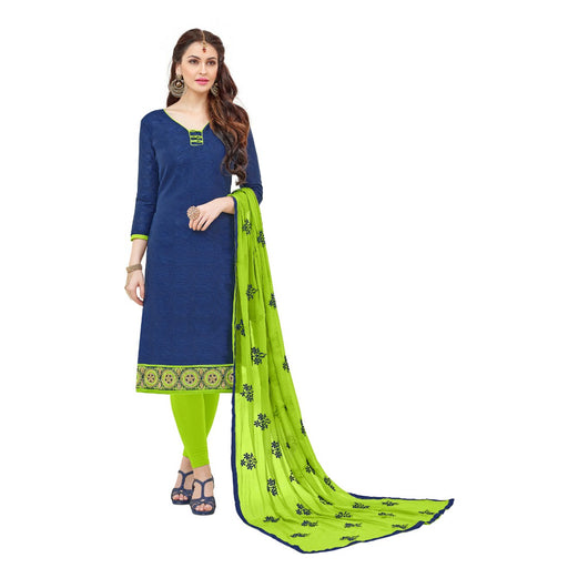 Cotton Jacquard Fabric Navy-Blue Color Dress Material only in Bigswipe