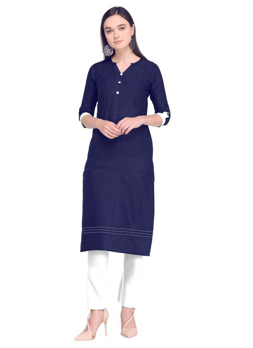 Navy Blue Color Dyed Cambric Cotton Kurti only in Bigswipe