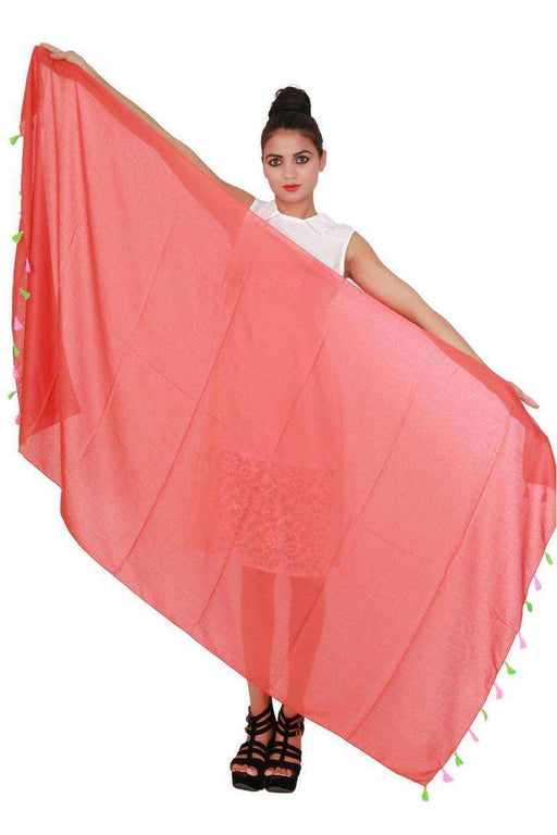 Cotton Plain Red Dupatta only in Bigswipe