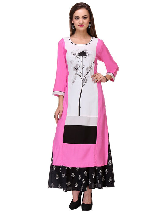 Pink,White Color Printed Cambric Cotton Kurti only in Bigswipe