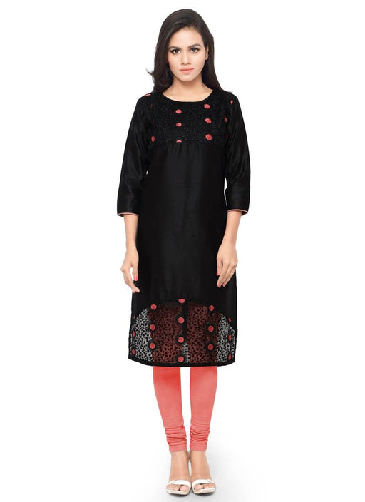 Black Color Embroidery Glace Cotton Kurti only in Bigswipe